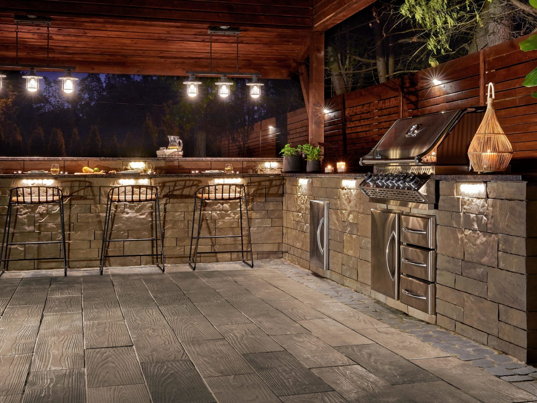 Borealis patio slabs in Hazelnut Brandy