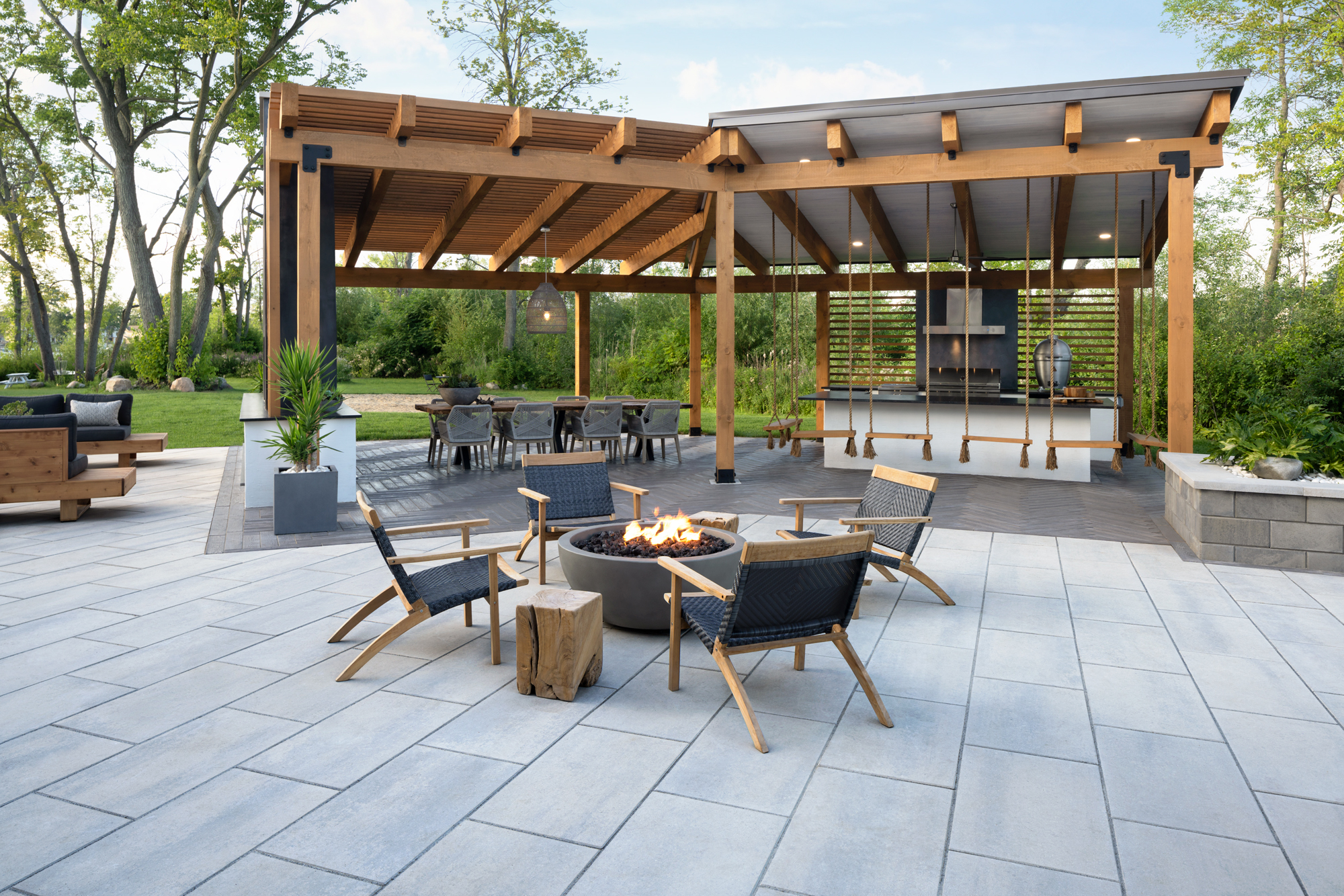 Blu Grande Smooth patio slabs in Shale Grey
