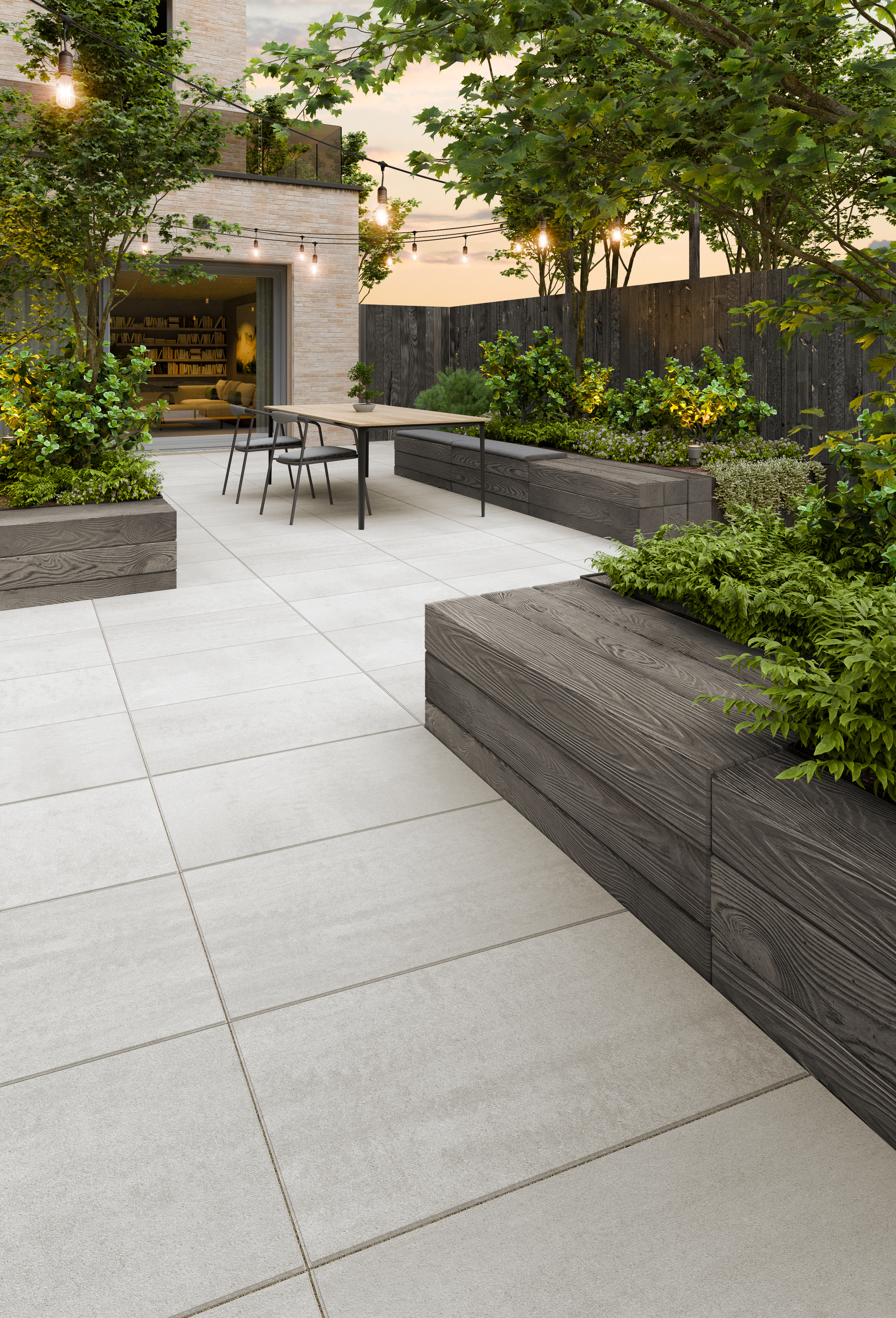 Borealis retaining wall and Blu Grande Smooth patio slab