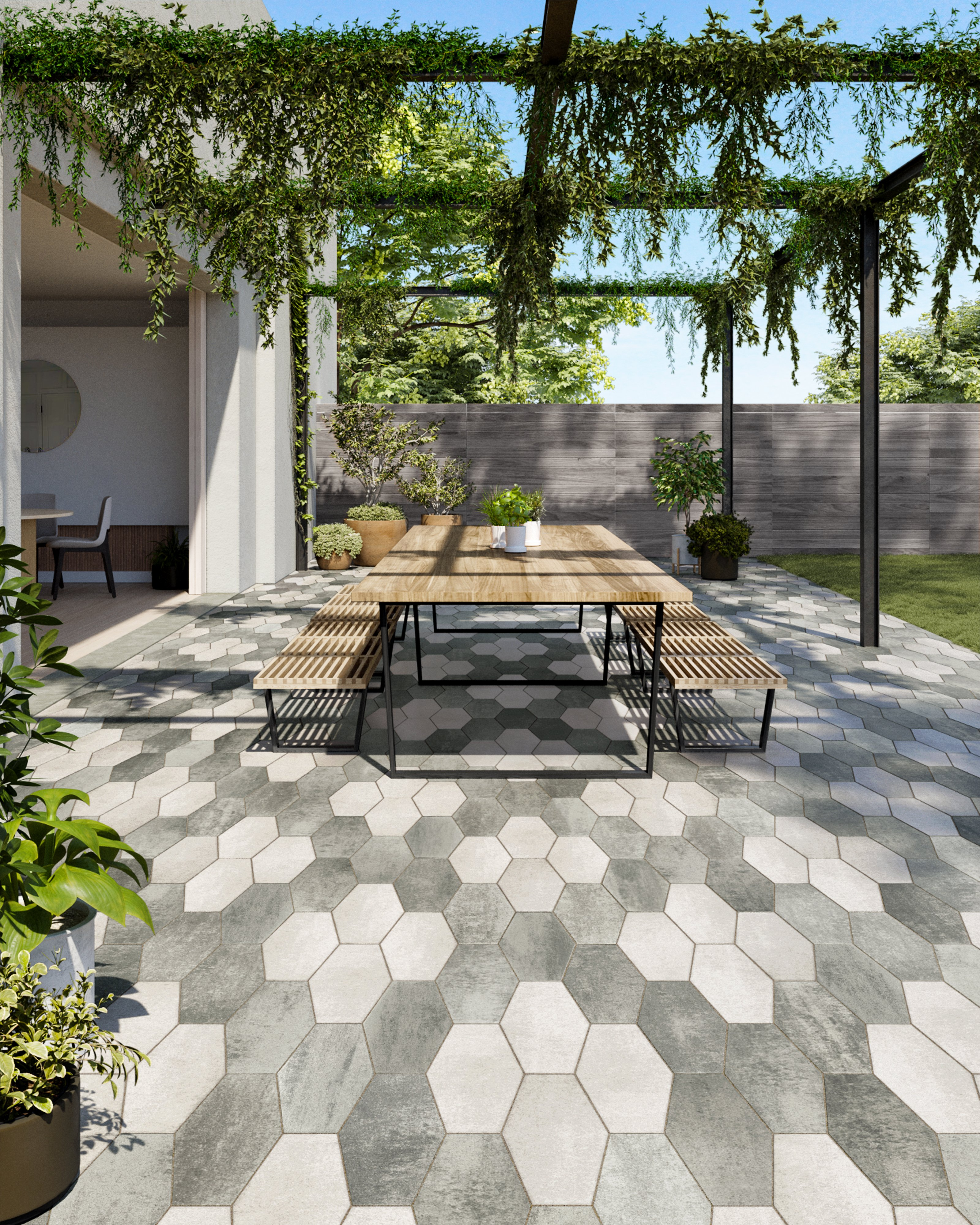 Hexa pavers in Shale Grey