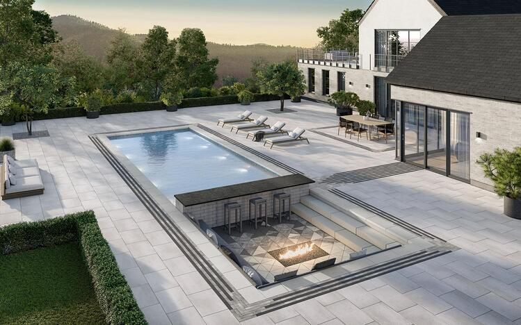 Industria Triangle Smooth paver and Raffinato Pool coping