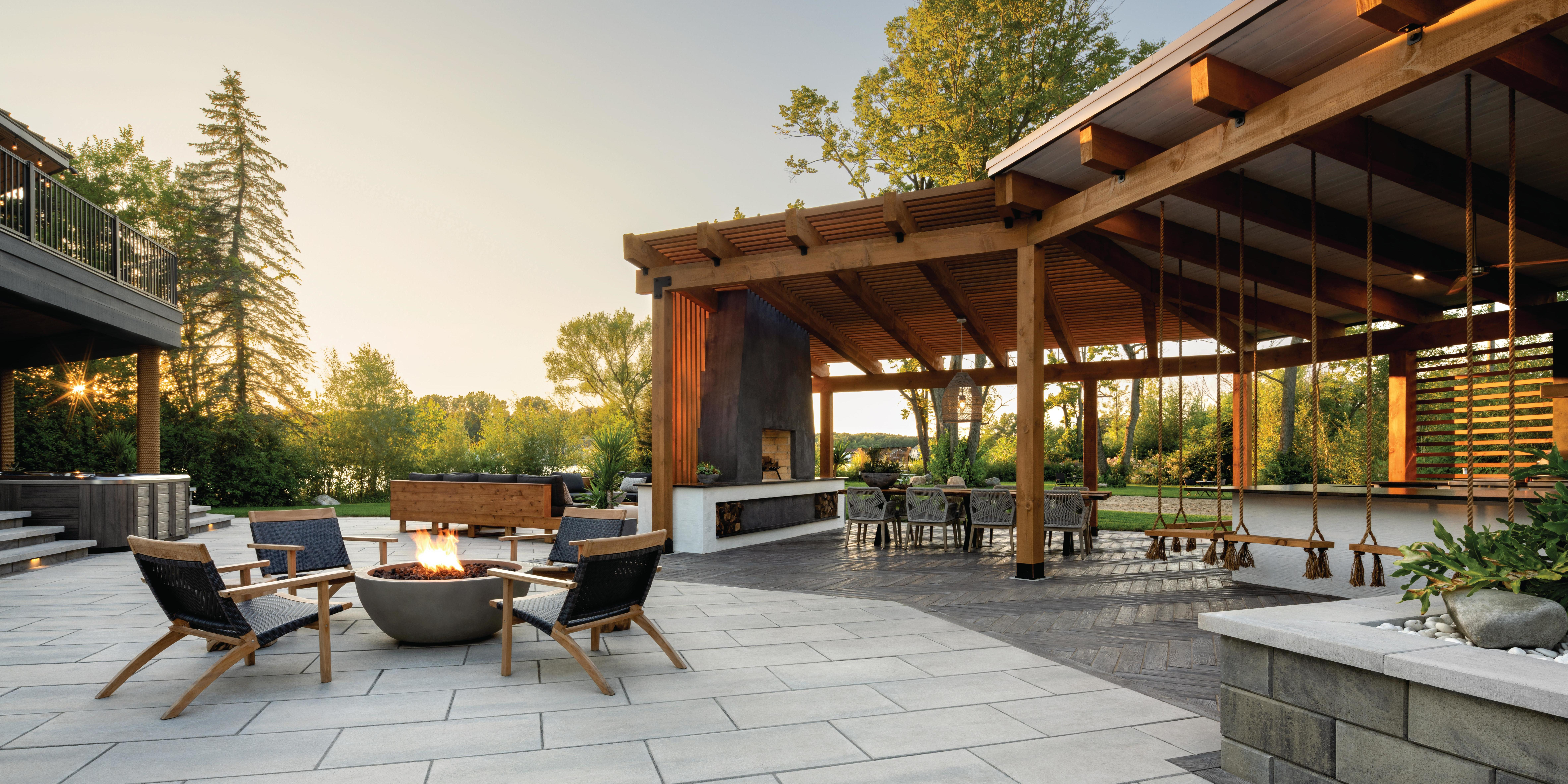 Paving-stones-fire-pit-chairs-swings